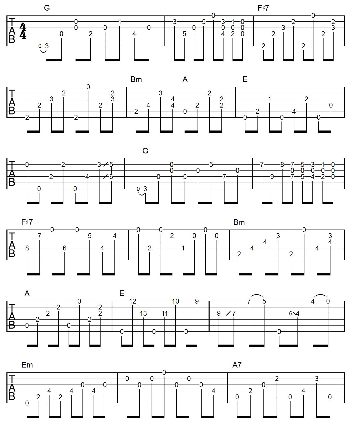 6th Harmony Fingerpicking Guitar MC Example 1