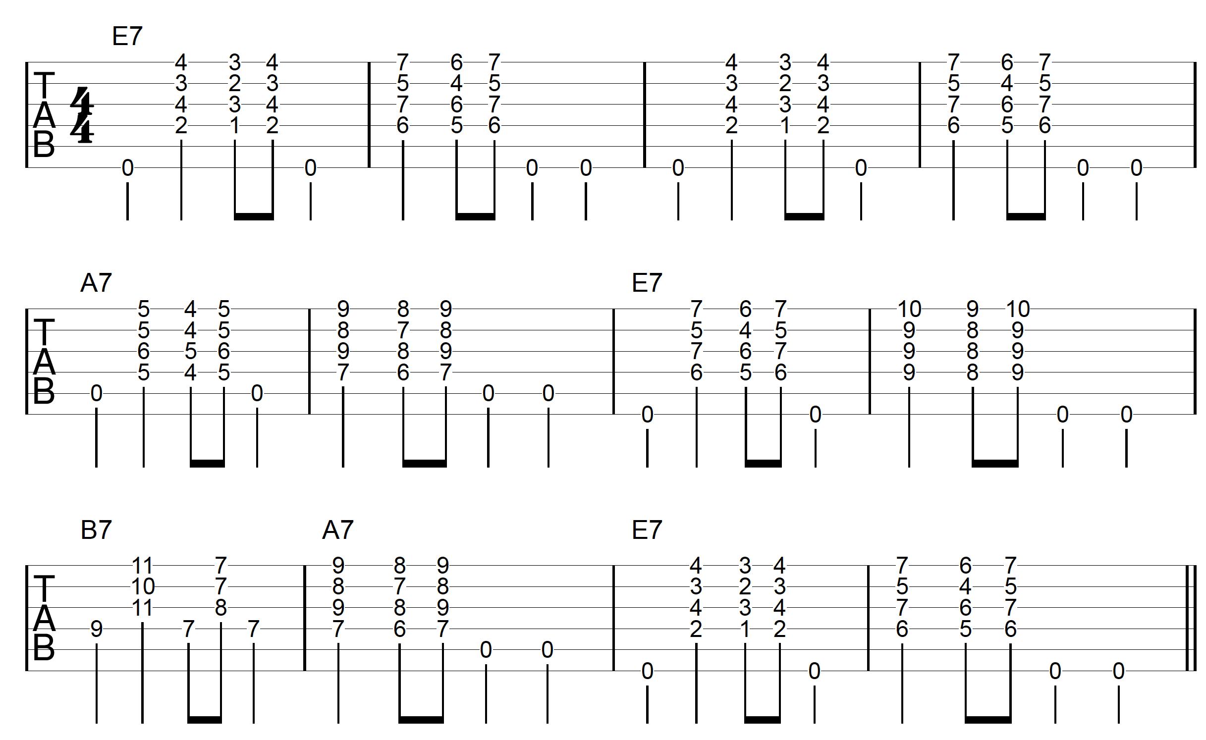 Block Chord Guitar E Blues