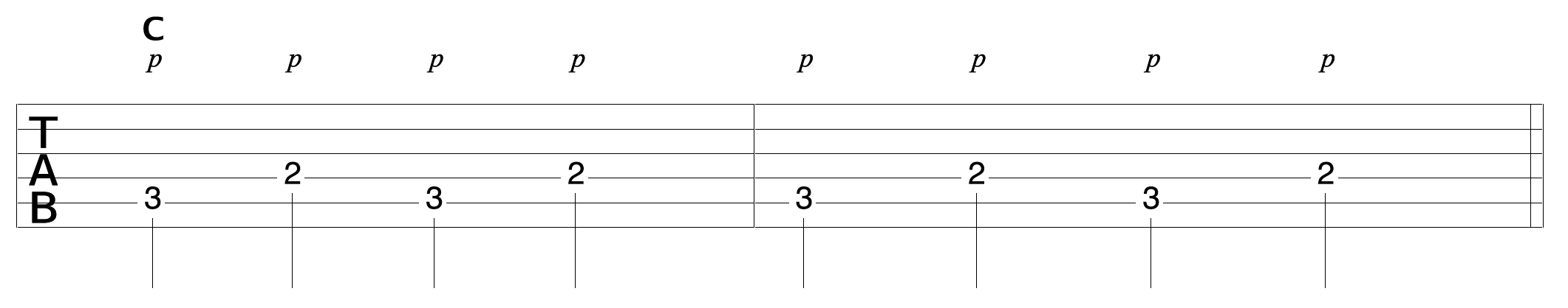 Finger Picking Pattern C Bass 1