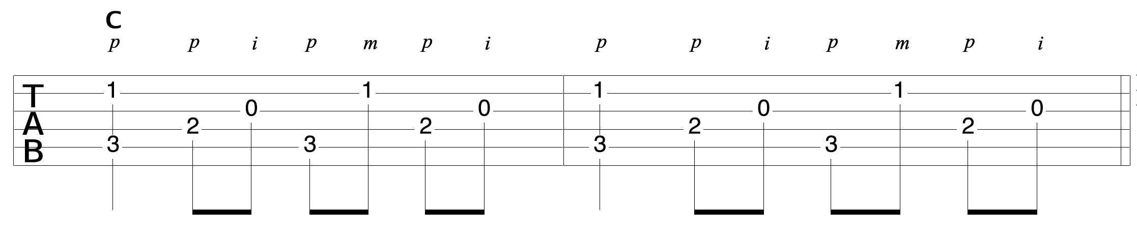 Guitar Clawhammer Fingerpick Pattern Variation 1