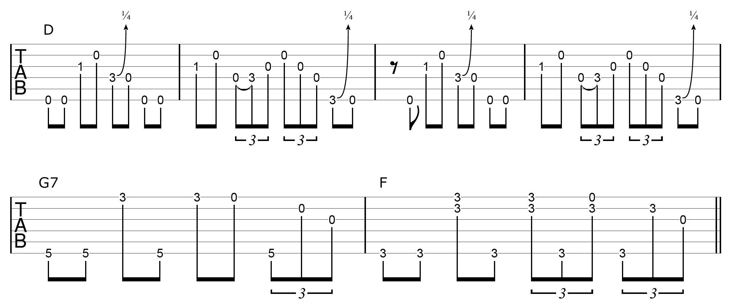 DADGAD Guitar Blues Example 3-3