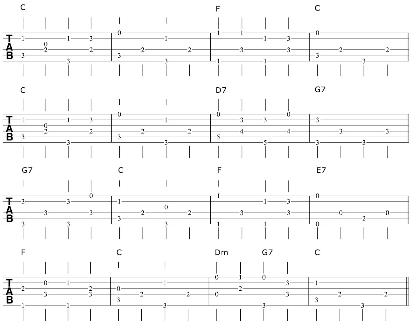 Travispicking Guitar Arrangement Melody
