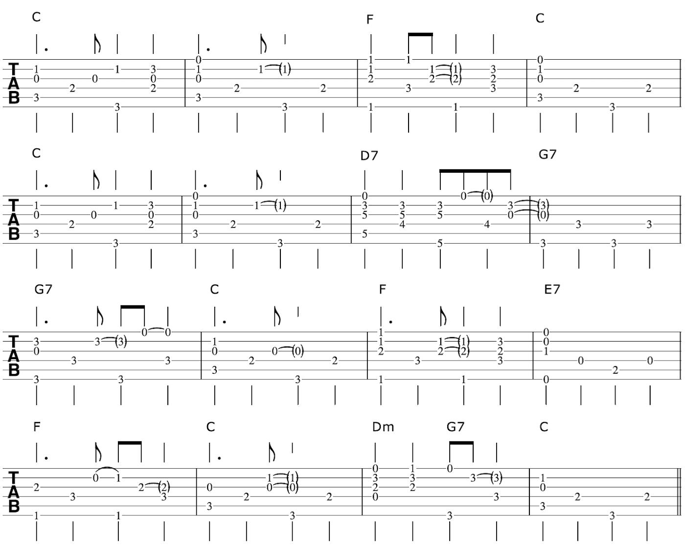 Travispicking Guitar Arrangement Harmony