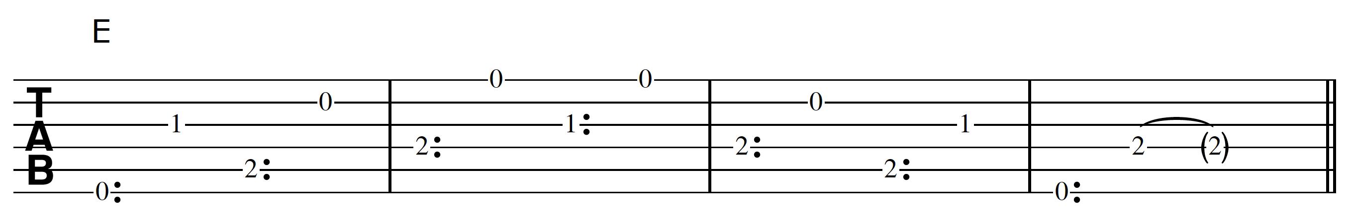 Harp Harmonic Pattern E Chord
