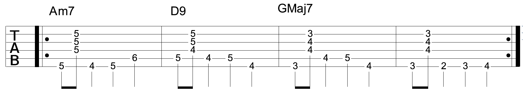 Jazz Walking Bass Line Guitar Root Notes Chords