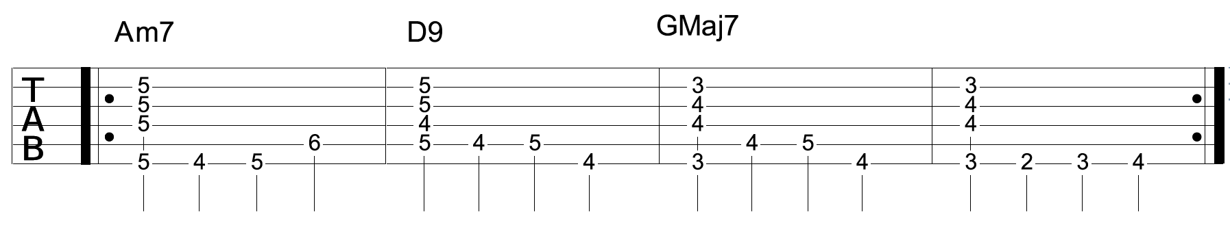 Jazz Walking Bass Line Guitar With Chords