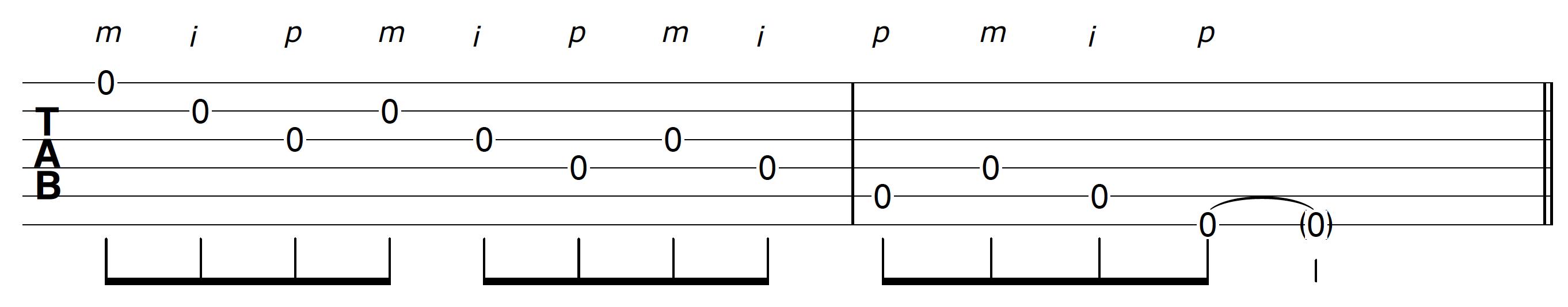 Open String Guitar Solo Riff Backward Banjo Roll 6 Strings