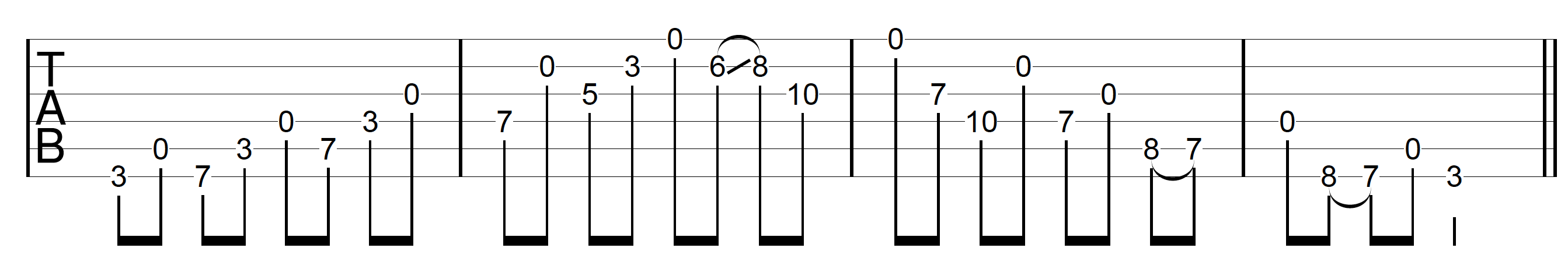 Open String Scale C Major Combined