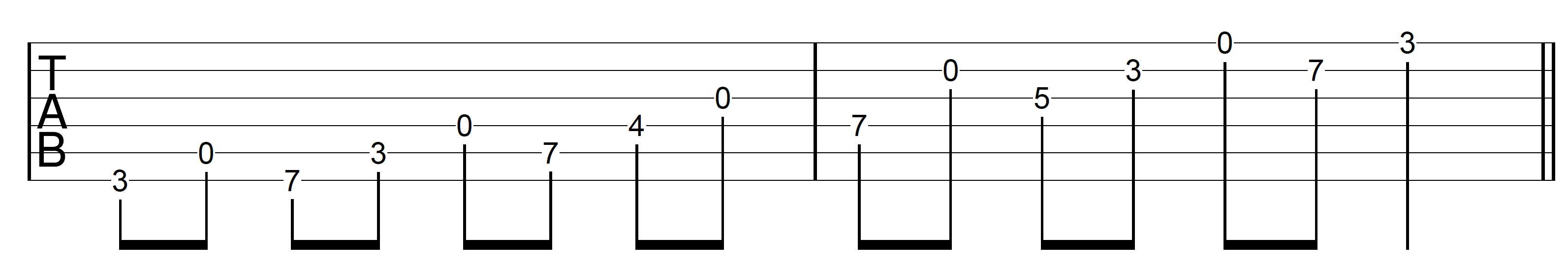 Open String Scale G Major 1 Ascend Open