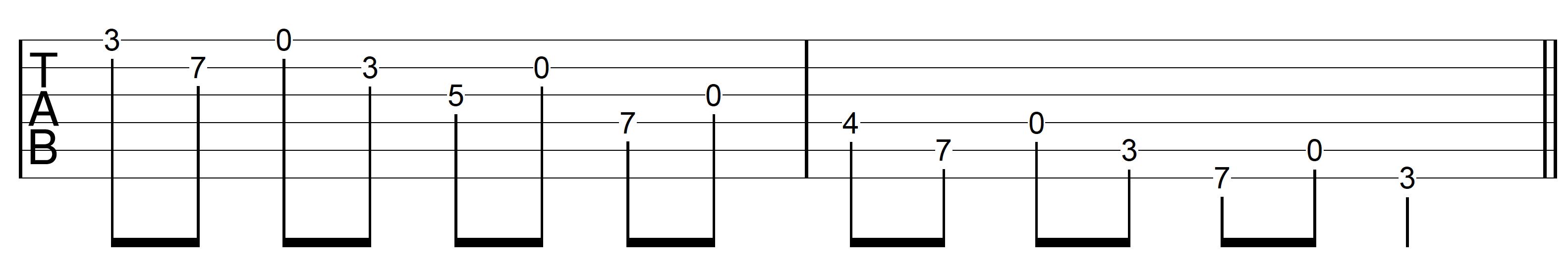 Open String Scale G Major 1 Descend Open