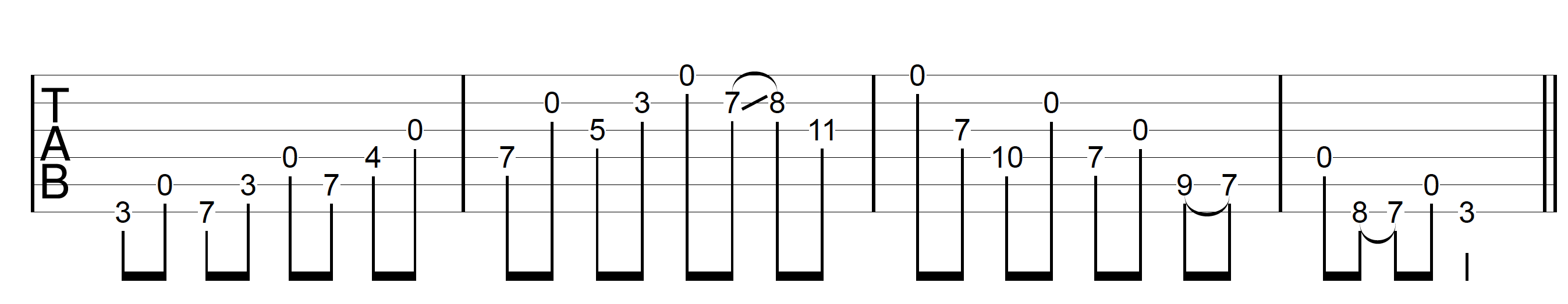 Open String Scale G Major Combined
