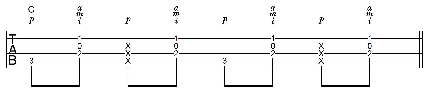 Thumb Slap C Chord Pattern 1
