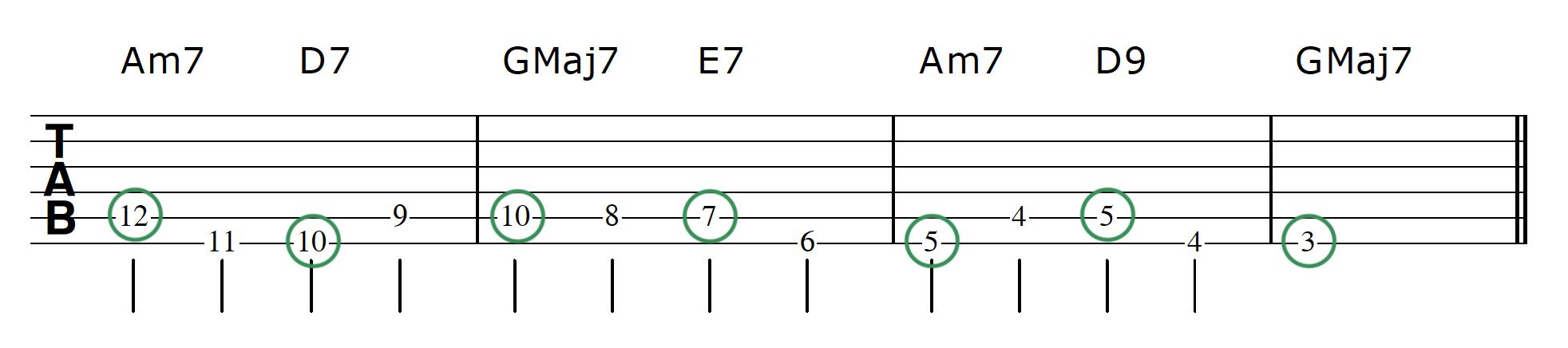 Walking Bass Line Guitar Step 3