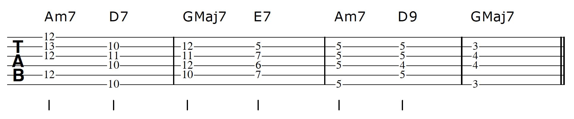 Walking Bass Line Guitar Step 1