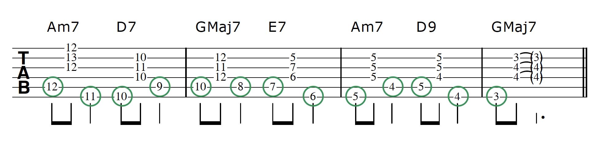 Walking Bass Line Guitar Step 5