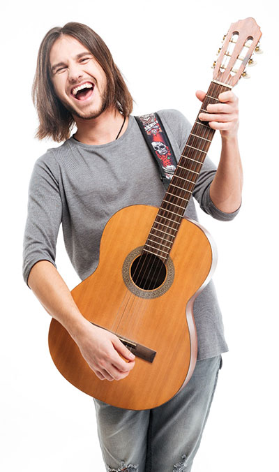 Happy Acoustic Fingerpicking Guitar Player